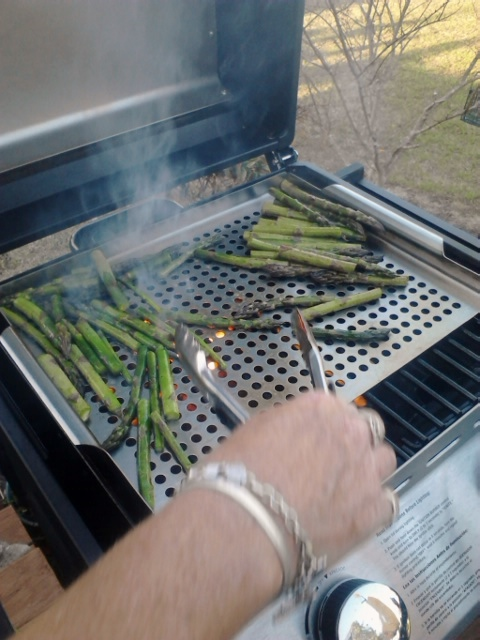 Some of the asparagus in the fridge were starting to wilt to mom and I threw them on the grill today (some with butter, some with balsamic vinegar).