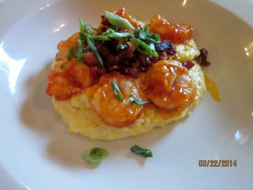 BBQ Shrimp & Grits from 82 Queen for brunch - the best shrimp and grits I have ever eaten. 82 Queen also has the best Bloody Mary in town in my mind.