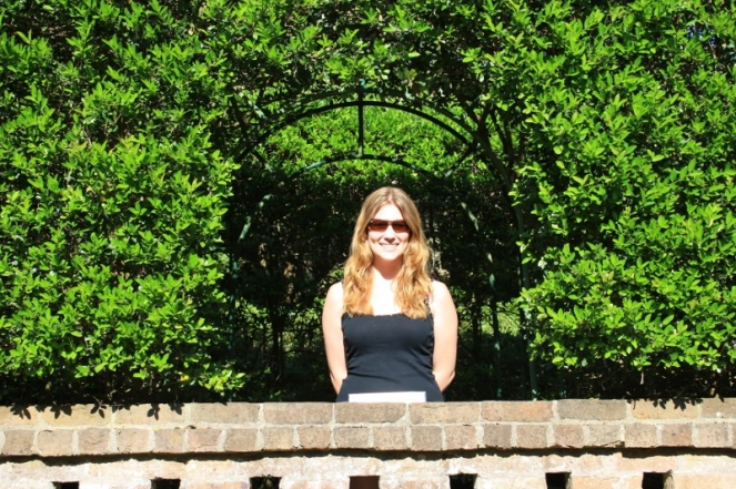 Me posing at the Elizabethan Gardens; I could have spent hours here, especially if I had brought a picnic lunch.