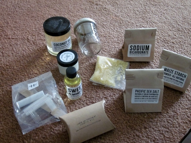 The box includes everything you need to create three themed projects - coconut deodorant, coconut toothpaste, and coconut chapstick.