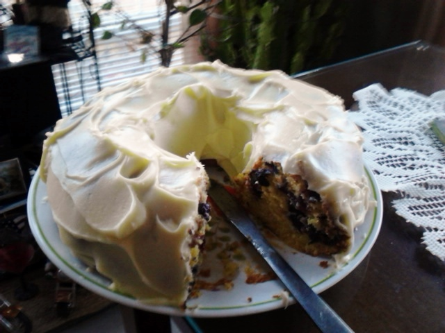 A crummy cell phone picture of the lemon and blueberry pound cake my mom made today. She used blueberry frozen from our plants last year.