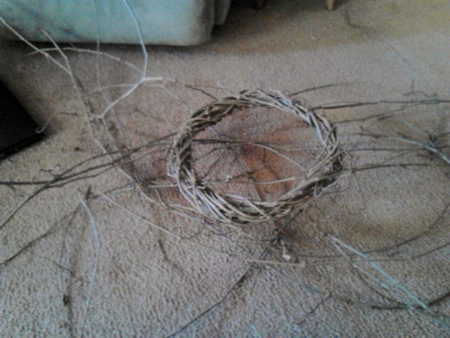A blurry cell phone picture of my wreath in progress.